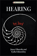 "the cover of Hearing by Jael is black, with a cross section of a seashell in white and the words ""by Jael"" in red"