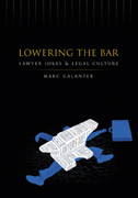 cover of Lowering the Bar is black, with an illustration of a blue man with a briefcase crushed by a white anvil, inscribed with a lawyer joke
