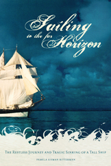cover of the Bitterman is a dramatic photo of a tall sailing ship on a darkly bluish storm pregant sky and ocean