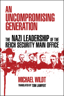 The cover of Wildt's book is white, with some blood-red photos of Nazi leaders.