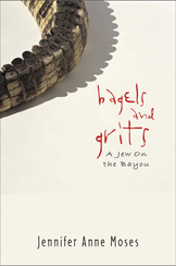 The cover of bagels and grits is beige, with the business end of a gator's tail at upper left. The title is in spiky red type.