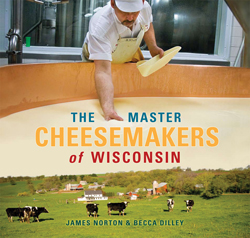 A cheesemaker inspects a vat of cheese in this photo on the cover of Norton and Diley's book.