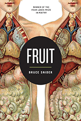 Fruit, winner of the Four Lakes Prize in Poetry, collection by Bruce Snider. Cover image of two anatomical illustrations of male figures meeting in the center where a large black dot announces title and poet.