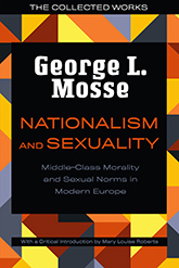 Nationalism and Sexuality: Illustration of a geometric mosaic consisting of various red, orange, yellow, and gray pieces. In the center, a large black rectangle contains the title and author text.