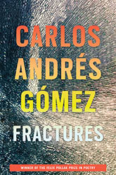 Fractures: Cover showing the author name and title text in an ombré of orange, green, and blue, upon a shattered mirror background.