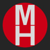 this logo is a grey square with a red circle within. Two letters, M and H are superimposed one above the other in the circle.