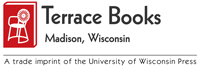 Logo for Terrace Books has a picture of a white Union chair on a red book.
