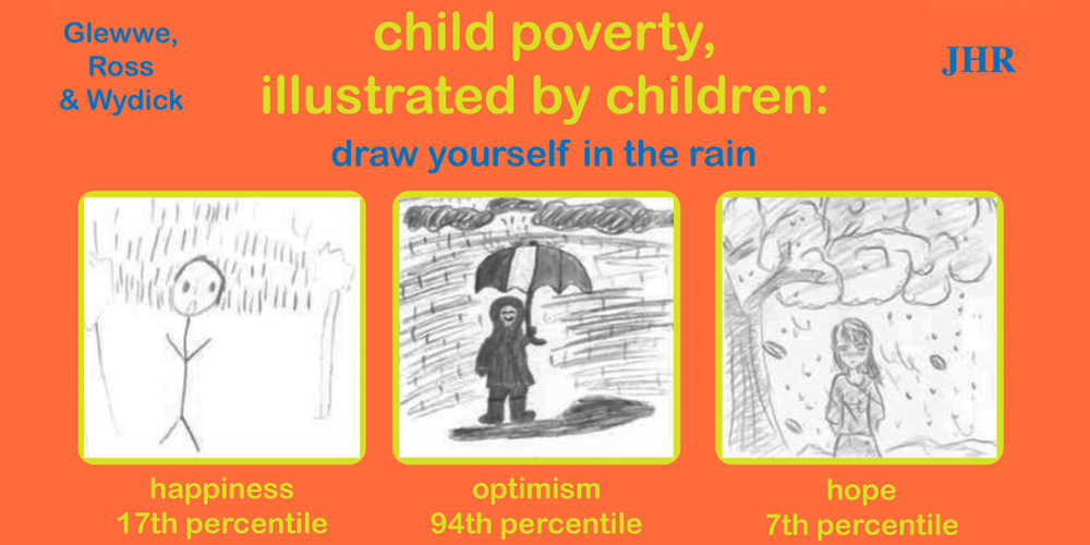 Child poverty illustrated by children: draw yourself in the rain