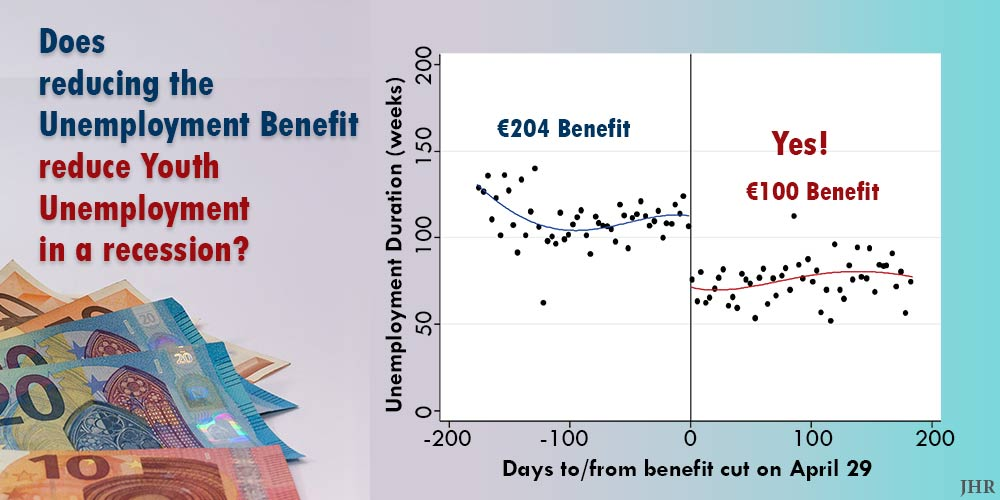 comparison of unemployment duration before and after benefit reduction