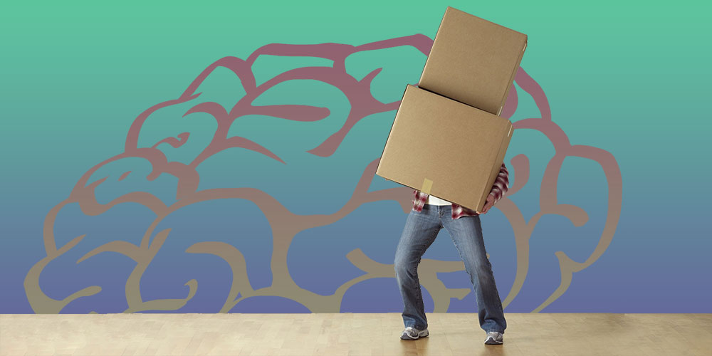 person moving with boxes and graphic of a brain in background