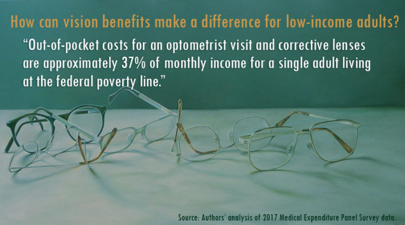 "Why might vision benefits make a difference for low-income adults? ""The out-of-pocket costs for an optometrist visit and corrective lenses are approximately 37% of monthly income for a single adult living at the federal poverty line."""