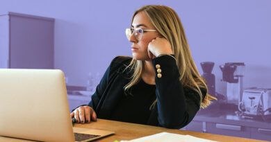 intern at her computer