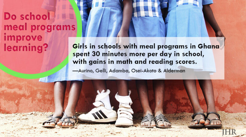 Girls in schools with meal programs attend school an average of 30 minutes more per day, with gains in math and reading.